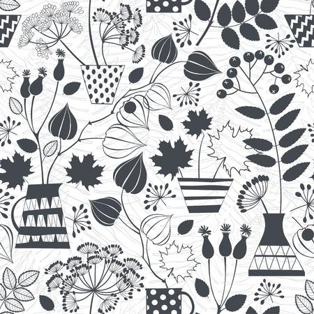 秋のブーケのシルエットとのシームレスなパターン。黒と白の vctor イラスト。