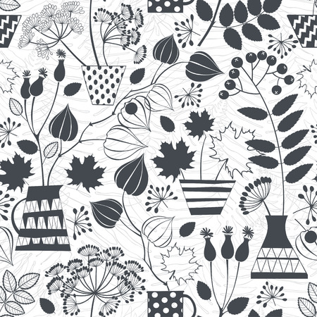 plant delicate: Seamless pattern with silhouettes of autumn bouquets. Black and white vctor illustration. Illustration