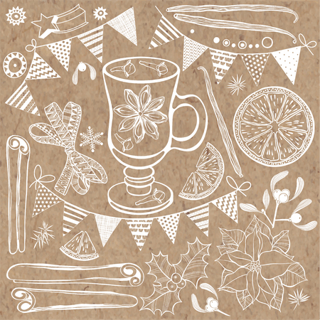 anise: Isolated elements for design on a Christmas theme Illustration