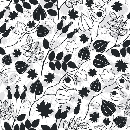 dogrose: Monochrome seamless pattern with physalis, dogrose berries and maple leaves. Illustration