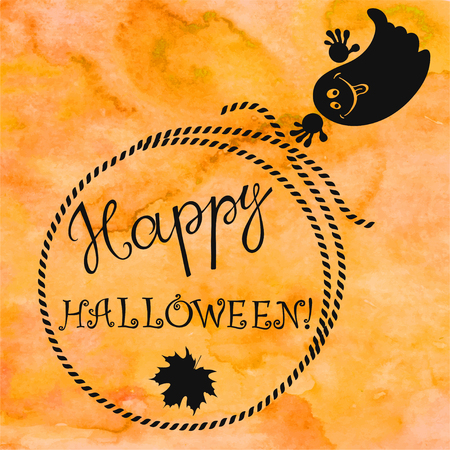 Halloween background with a ghost. Greeting card or isolated elements for your design. Illustration