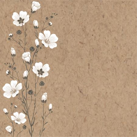 Von Hand gezeichnet Hintergrund mit Flachs Blumen und Platz für Text auf Packpapier.