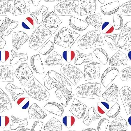 Vector seamless pattern with cheese and French Heart flag on a white background.
