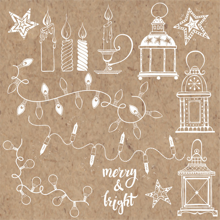 holiday garland: Christmas lanterns, festive garland lights and Christmas candles. Vector set, isolated elements on kraft paper. Illustration