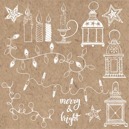 candleholder: Christmas lanterns, festive garland lights and Christmas candles. Vector set, isolated elements on kraft paper. Illustration