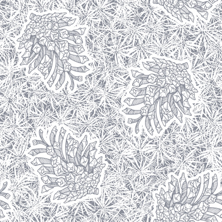 hoarfrost: Hand-drawn background with pine cones and coniferous texture. Monochrome vector pattern.