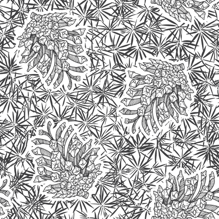 conifer: Cones and conifer texture. Seamless vector pattern. Black and white illustration.
