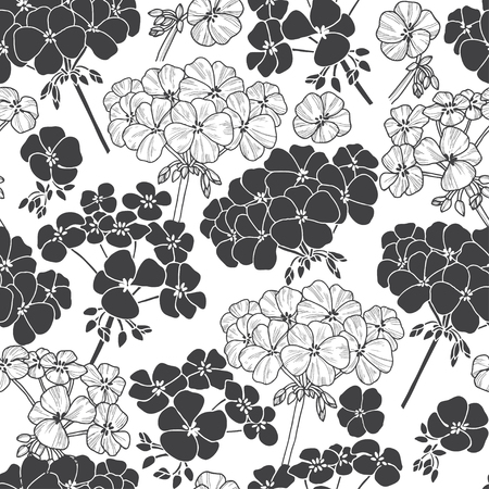 Monochrome vector pattern with flowers geranium. 向量圖像