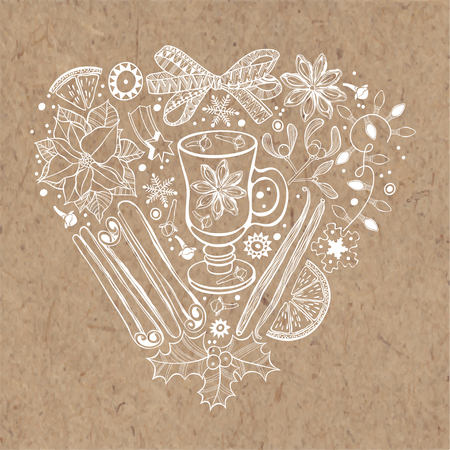 Christmas heart. Vector illustration with traditional festive elements on kraft paper.