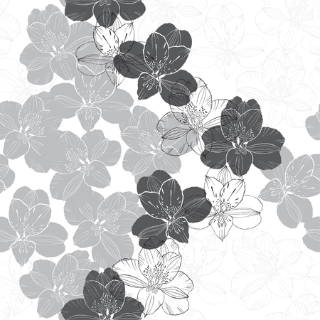 alstromeria: Abstract floral seamless pattern. Monochrome vector background with flowers of alstroemerias.