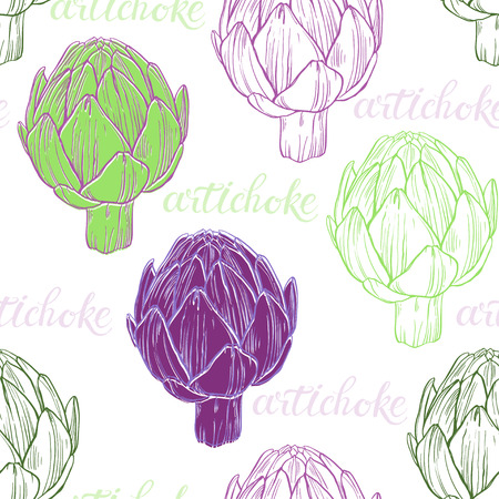 Seamless pattern with artichokes on a white background. Food art background.
