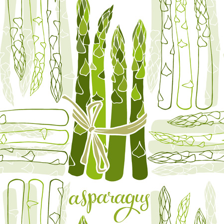 Asparagus. Seamless vector pattern. Food monochrome background.