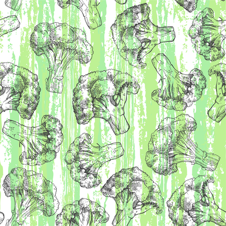 textural: Seamless pattern with broccoli on textural background. Food art background.