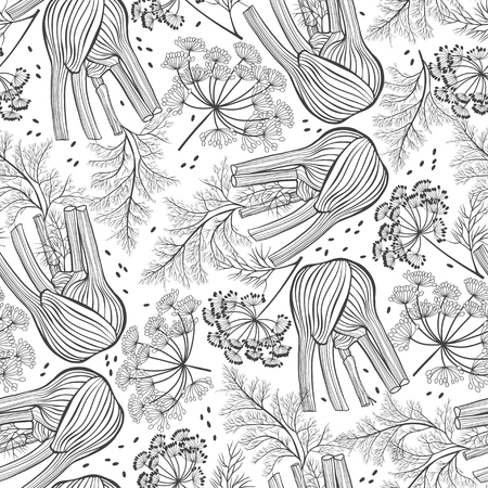 fennel: Seamless pattern with fennel. Contour vector illustration. Food background. Illustration