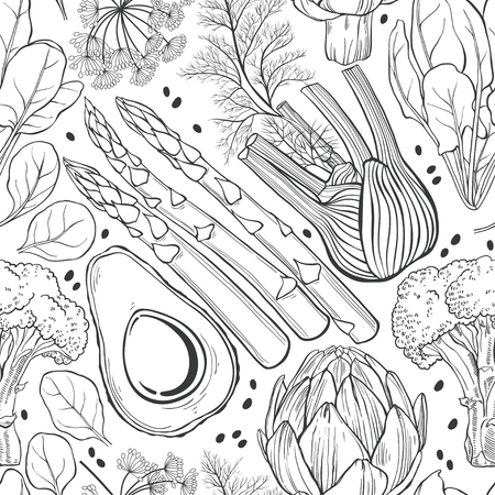 fennel: Seamless vector pattern with artichoke, spinach, broccoli, fennel, avocado and asparagus. Black and white vector illustration.