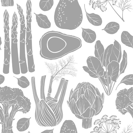 fennel: Seamless vector pattern with artichoke, spinach, broccoli, fennel, avocado and asparagus. Black and white vector illustration. Silhouettes of vegetables.