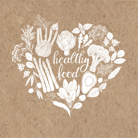 Healthy food. Vector illustration of heart shape on a kraft paper. Green vegetables, spices and culinary herbs.