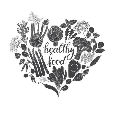 Gezond eten. Zwart-wit vector illustratie van hart vorm. Groenten, kruiden en keukenkruiden.