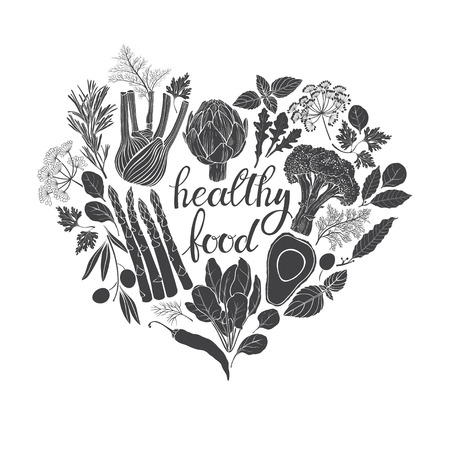 culinary: Healthy food. Black and white vector illustration of heart shape. Vegetables, spices and culinary herbs.