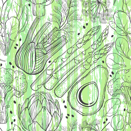 fennel: Vegetables on the texture background. Seamless vector pattern. Food background with artichoke, spinach, broccoli, fennel, avocado and asparagus. Illustration
