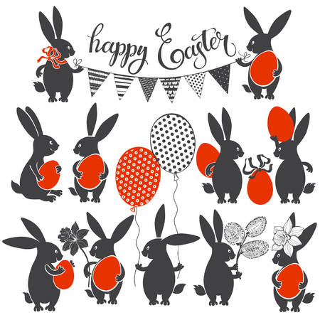 Easter Bunnies. Vector illustration. Easter collection isolated elements for design and lettering. Illustration