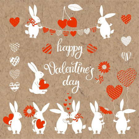 Happy Valentines Day. Vector isolated elements and lettering for design on kraft paper . Illustration