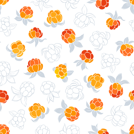 wildberry: Seamless vector pattern with cloudberry on a white background.