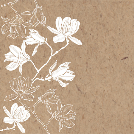 Floral vector background. Branches with flowers of magnolia on kraft paper. Invitation or greeting card. Illustration