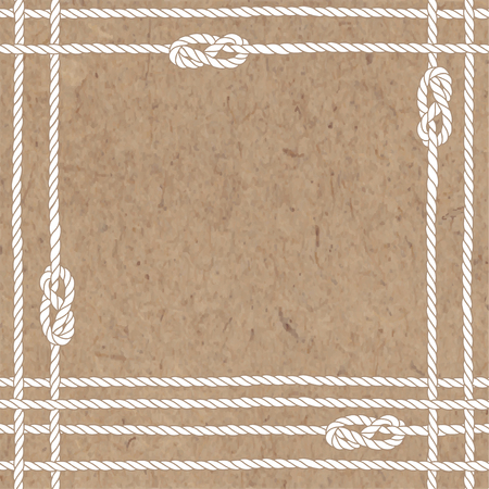 Vector background on sea theme. Illustration with sea ropes, knots and place for text on kraft paper. Illustration