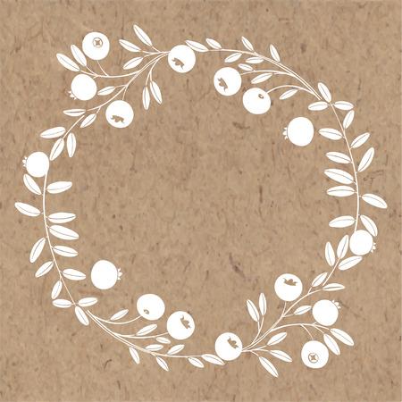 Marco redondo con arándano. Corona de naturaleza. Ilustración de vector con espacio para texto en papel kraft.
