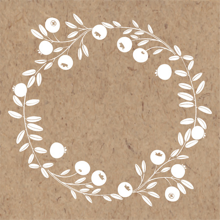Round frame with cranberry. Nature wreath. Vector illustration with space for text on kraft paper.