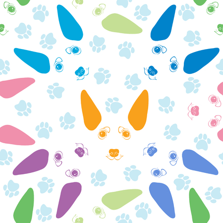 Seamless pattern with cute dog faces and dog traces.Colorful vector illustration. Illustration