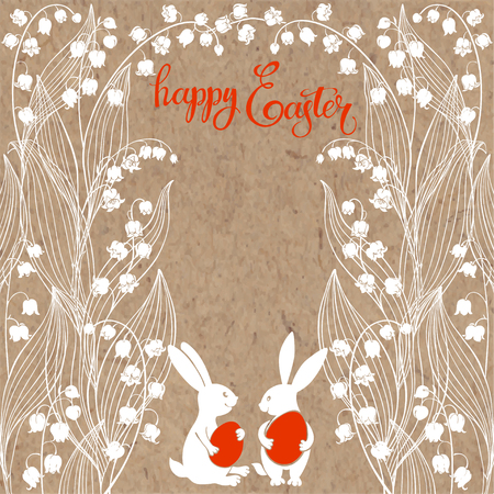 Happy Easter. Easter Bunnies with lily of the valley and place for text. Vector illustration on kraft paper. Greeting card, invitation or isolated elements for design.