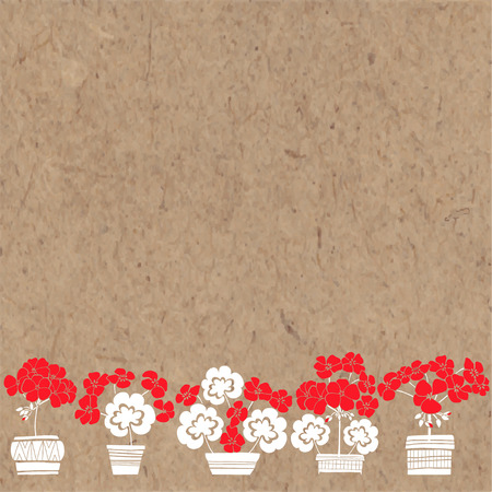 Floral background with geranium and place for text. Vector illustration on a kraft paper. Invitation, greeting card or an element for your design. Illustration