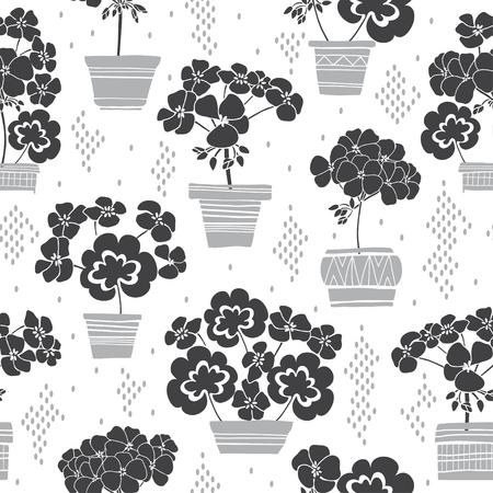 Blühende Geranien in Töpfen. Nahtloses Vektormuster. Monochrome Blumenillustration auf weißem Hintergrund. Vektorgrafik