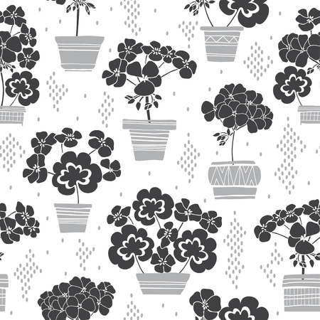Blooming geraniums in pots. Seamless vector pattern. Floral monochrome illustration on white background.