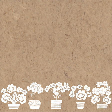 Floral background with geranium and place for text. Vector illustration on a kraft paper. Invitation, greeting card or an element for your design. 向量圖像