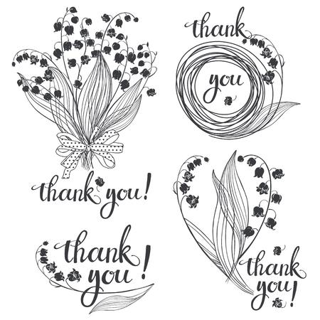 Gracias! Vector la ilustración con los lirios del valle y la caligrafía hecha a mano en el fondo blanco. Cuatro variaciones monocromáticas. Foto de archivo - 78180365