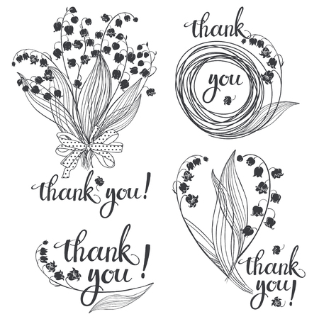 Thank you! Vector illustration with lilies of the valley and handmade calligraphy on white background. Four monochrome variations.
