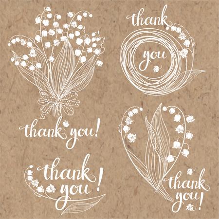 Dank u kaarten met lelies van de vallei. Bloemen vectorillustratie met handgemaakte vector kalligrafie op kraftpapier. Vier monochrome variaties. Vector Illustratie