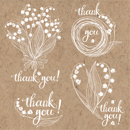 Thank you cards with lilies of the valley. Floral vector illustration with handmade vector calligraphy on kraft paper. Four monochrome variations. Ilustracja