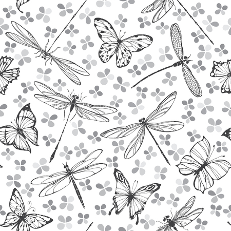 entomology: A seamless vector pattern with butterflies and dragonflies on a floral background. Monochrome vector illustration.