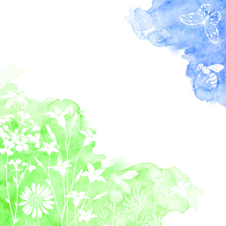 Floral background with meadow flowers, butterflies and bees. Vector illustration on a watercolor background with place for text. Invitation, greeting card or an element for your design.