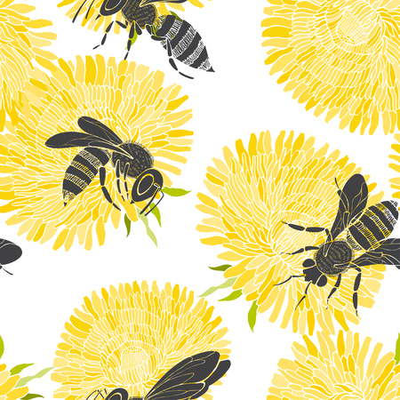 Bees and dandelions on a white background. Seamless vector pattern.