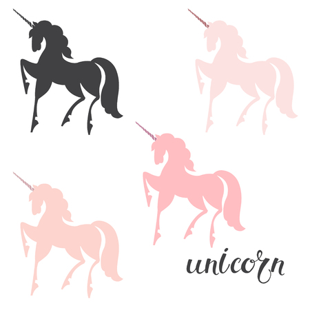 Unicorn. Vector illustration, isolated design elements, four options. Silhouettes on a white background. Illustration