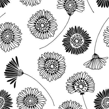 daisy wheel: Seamless floral pattern with hand-drawn chamomiles on a white background.