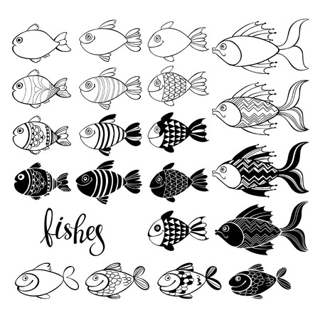 Fishes. Vector hand-drawn illustration, isolated elements for design, coloring book.