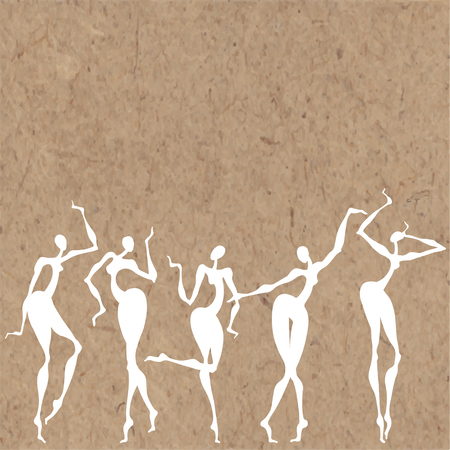 Five white dancing silhouettes on kraft paper. Vector illustration with place for text. Maybe an invitation, greeting card or design element.