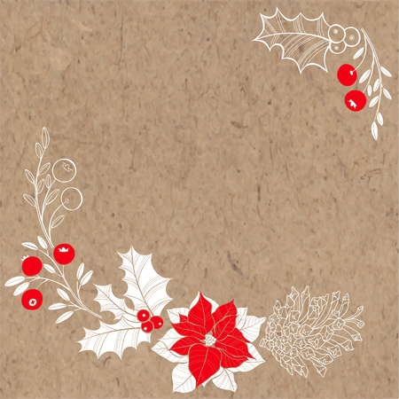 twigs: Festive New Year and Christmas background with holly, poinsettia, cranberries and a pine cone on kraft paper. Corner composition. Vector illustration can be greeting cards, invitations, and design element.