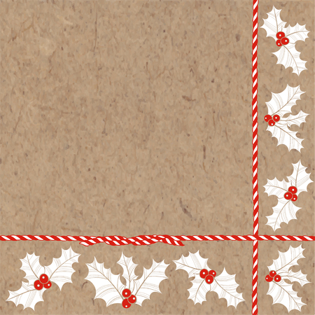 Festive New Year and Christmas background with holly on kraft paper. Corner composition. Vector illustration can be greeting cards, invitations, and design element.